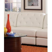 Quinn White Leather Armless Chair