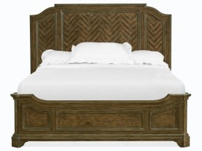 Complete Cal.King Panel Bed w/Shaped Rails