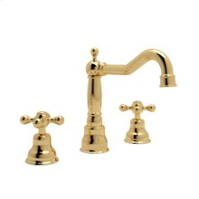 Inca Brass Arcana 3-Hole Widespread Faucet with Arcana Ornate Metal Lever