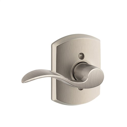 Accent Lever with Greenwich trim Non-turning Lock - Satin Nickel