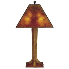 Mica Shade, Oak Corbel Base Table Lamp