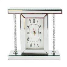"Mirrored & Glitter Table Clock, 7.75"""