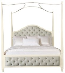 King-Sized Savoy Place Upholstered Poster Bed with Metal Canopy (optional) in Ivory (702)