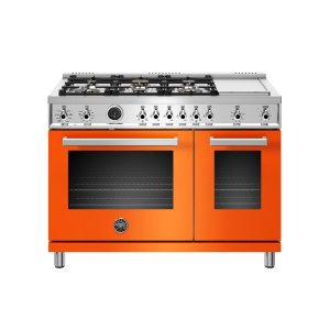 Bertazzoni48 inch Dual Fuel Range, 6 Brass Burners and Griddle , Electric Self Clean Oven Orange