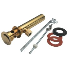 Fully Polished Standard Lavatory Lift Rod Pop-Up Drain - Polished Brass