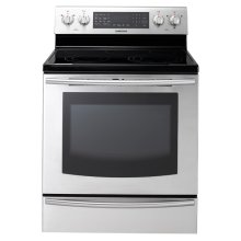 New 5.9 cu. ft. Large Capacity Electric Range (Stainless Steel) (This is a Stock Photo, actual unit (s) appearance may contain cosmetic blemishes. Please call store if you would like actual pictures). This unit carries our 6 month warranty, MANUFACTURER WARRANTY and REBATE NOT VALID with this item. ISI 32690