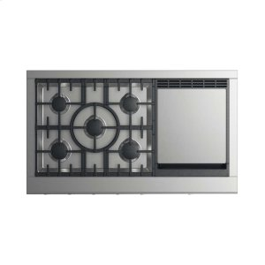 """DCS48"""" Professional Cooktop: 5 Burners With Griddle"""