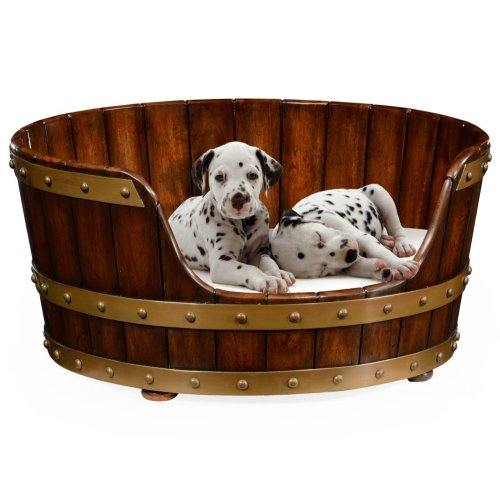 Small Walnut Wooden Dog Bed