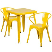 23.75'' Square Yellow Metal Indoor-Outdoor Table Set with 2 Arm Chairs