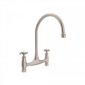 Satin Nickel Perrin & Rowe Georgian Era Bridge Kitchen Faucet with Cross Handle