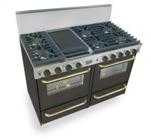 """48"""" All Gas, Convection, Sealed Burners, Black with Brass"""