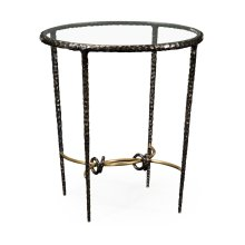 Hammered Antique Black Brass Circular Side Table