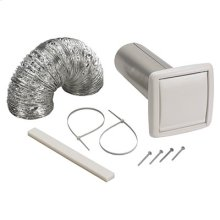 """Wall Ducting Kit - 5' of 4"""" diameter flexible foil duct, white wall cap for 4"""" round duct, 3"""" to 4"""" duct adapter, 2 nylon zip ties and mounting screws"""