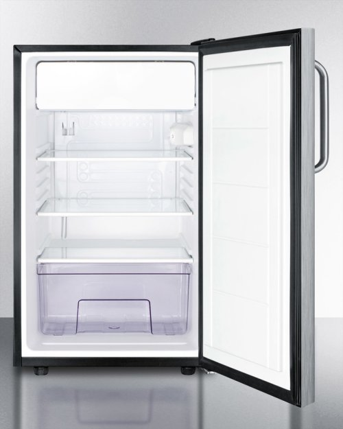 "Commercially Listed 20"" Wide Counter Height Refrigerator-freezer With A Lock, Stainless Steel Door, Towel Bar Handle and Black Cabinet"