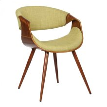 Armen Living Butterfly Mid-Century Dining Chair in Walnut Wood and Green Fabric