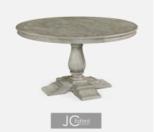 "55"" Circular Extending Dining Table in Rustic Grey"
