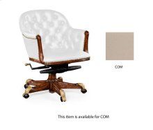 Chesterfield Style Walnut Office Chair, Upholstered in COM