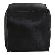 Luca Leather Pouf Black