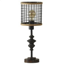 Black Metal Mini Lamp with Cage Shade and Edison Bulb
