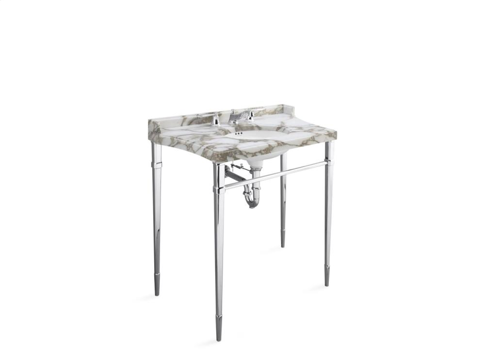 Console Table Legs With Towel Bar, Front   Brushed Nickel