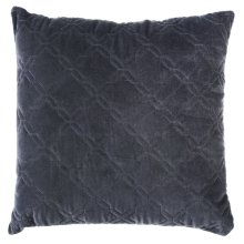Grey Diamond Top Stitch Velvet Pillow
