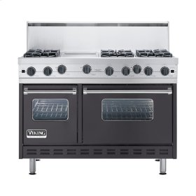 "Graphite Gray 48"" Open Burner Commercial Depth Range - VGRC (48"" wide, six burners 12"" wide griddle/simmer plate)"