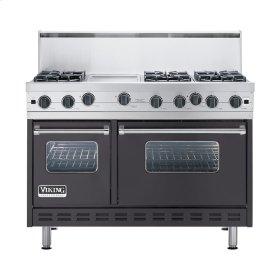 "Graphite Gray 48"" Open Burner Commercial Depth Range - VGRC (48"" wide, six burners 12"" wide griddle/simmer plate)"