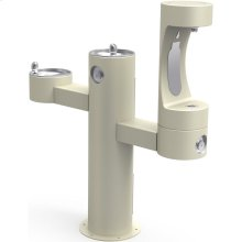 Elkay Outdoor EZH2O Bottle Filling Station Tri-Level Pedestal, Non-Filtered Non-Refrigerated Beige