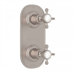 """Satin Nickel Perrin & Rowe Edwardian Trim For 1/2"""" Thermostatic/Diverter Control Rough Valve with Edwardian Cross Handle"""