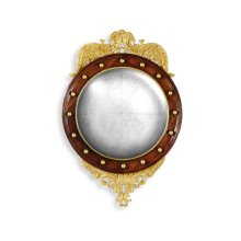 Regency Walnut & Gilt Round Convex églomisé Mirror (Medium)