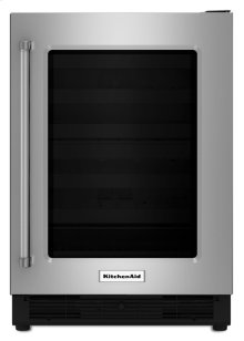 "24"" Undercounter Refrigerator with Glass Door - Stainless Steel"