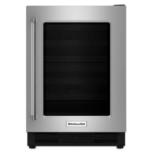 "KitchenAid24"" Undercounter Refrigerator with Glass Door - Stainless Steel"