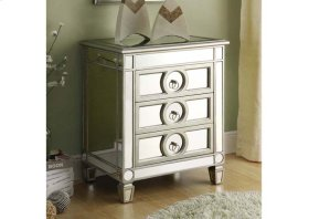 """ACCENT TABLE - 27""""H / BRUSHED SILVER / MIRROR / 3 DRAWERS"""