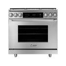 "36"" Heritage Dual Fuel Epicure Range, Silver Stainless Steel, Natural Gas Product Image"
