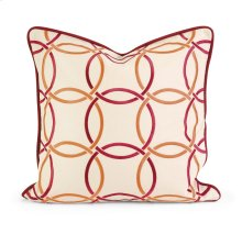 IK Catina Orange Red Embroidered Linen Pillow w/Down Fill