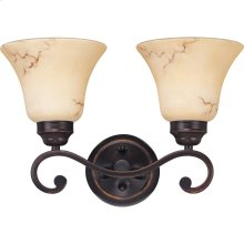 2-Light Wall Mounted Vanity Light in Copper Espresso Finish with Honey Marble Glass Shades