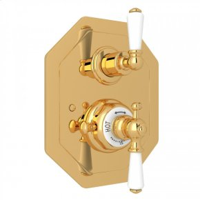 English Gold Perrin & Rowe Edwardian Octagonal Concealed Thermostatic Trim With Volume Control with Metal Lever
