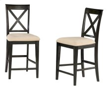 Lexi Pub Chairs Set of 2 with Oatmeal Cushion in Espresso