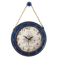 Compass Wall Clock with Ship Wheel Hook. Product Image
