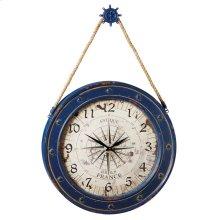 Compass Wall Clock with Ship Wheel Hook.