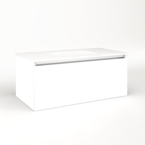 """Cartesian 36-1/8"""" X 15"""" X 18-3/4"""" Single Drawer Vanity In White With Slow-close Plumbing Drawer and Night Light In 5000k Temperature (cool Light)"""