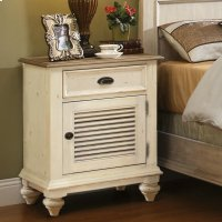 Coventry Two Tone - Shutter Door Nightstand - Weathered Driftwood/dover White Finish Product Image