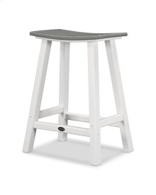 "White & Slate Grey Contempo 24"" Saddle Bar Stool"