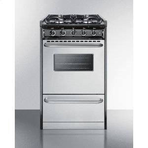 "Summit20"" Wide Slide-in Gas Range With Stainless Steel Doors and Sealed Burners; Replaces Tnm11027bfrwy"