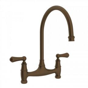 English Bronze Perrin & Rowe Georgian Era Bridge Kitchen Faucet with Metal Lever