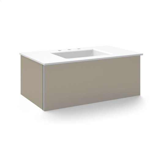 """V14 36-1/4"""" X 14"""" X 21"""" Wall-mount Vanity In Satin Bronze With Slow-close Plumbing Drawer and 37"""" Stone Vanity Top In Quartz White With Center Mount Sink and Single Faucet Hole"""