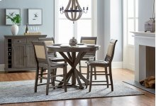 Round Counter Table - Distressed Dark Gray Finish