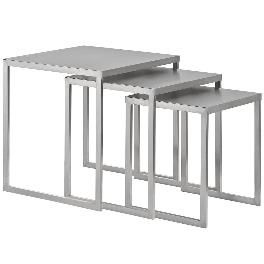 Rail Stainless Steel Nesting Table in Silver