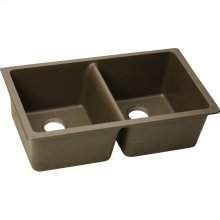 "Elkay Quartz Classic 33"" x 18-1/2"" x 9-1/2"", Equal Double Bowl Undermount Sink, Mocha"