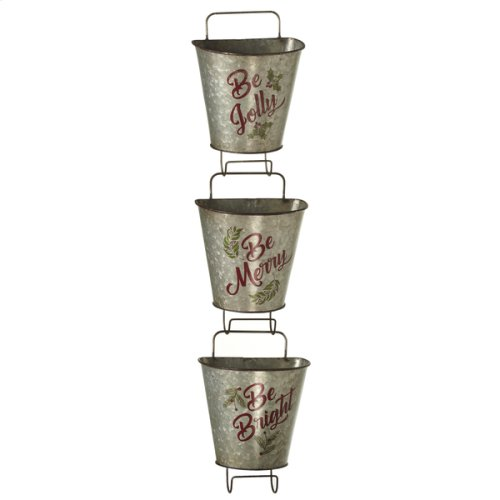"""""""Be Bright, Be Jolly, Be Merry"""" Galvanized Wall Mounted Hanging Bucket. (3 pc. ppk.)"""